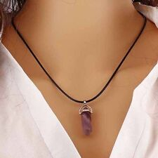 Healing Point Natural Quartz GEMSTONE Rock Crystal Chakra Stone Pendant Necklace Purple Amethyst