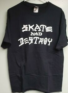 NEW THRASHER MAGAZINE SKATE AND DESTROY TONY HAWK NOS SKATEBOARD SHIRT + STICKER