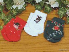 "Set 3 CHRISTMAS ""Holidays"" DOLL ANKLE SOCKS fits 15"" & 18"" AMERICAN GIRL DOLL"