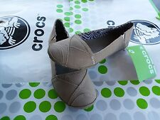 CROCS ANGELINE WALU CANVAS MOLLY LINA BUSY DAY LOAFER FLAT SHOE~Brown~Women 9
