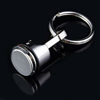 Metal Piston Car Keychain Keyfob Engine Fob Key Chain Ring keyring Silver UK