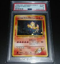 PSA 9 MINT Blaine's Moltres No. 146 JAPANESE Gym HOLO RARE Pokemon Card