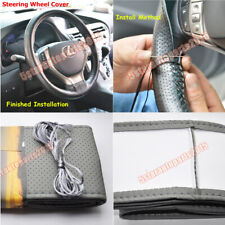 DIY Stitch PU Leather Car Steering Wheel Cover with Needle and Thread Grey Φ38cm
