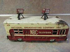 VINTAGE NBC TELEVISION TIN FRICTION BUS W/CAMERAS CRAGSTAN/JAPAN