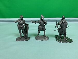 Lot of 3 Medieval Warrior Soldier Metal Tin Toy Figure