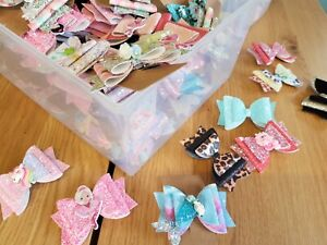 """100+ Wholesale Job Lot Of Assorted Girls 3"""" Hair Bows"""
