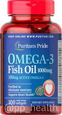 Puritan's Pride Omega-3 Fish Oil 1000 mg Contain 300 mg EPA DHA MADE IN USA
