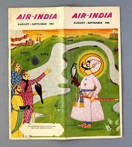 AIR INDIA AIRLINE TIMETABLE AUGUST - SEPTEMBER 1965 AI ROUTE MAP