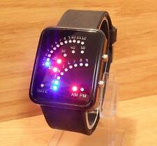 Mens Ladies Retro Style LED Red Blue LED Arch Binary Digital Black Rubber Watch
