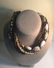 "HELGA WAGNER Shell Beads Multi-strand Necklace 16"""