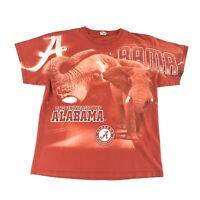VTG Y2K T Shirt Large University Of Alabama All Over Print Red Crimson Tide