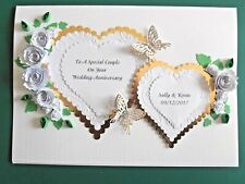 Personalised luxury Handmade Golden 50th Wedding Anniversary card Hearts/roses