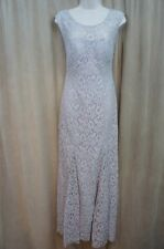Betsy & Adam Dress SZ 4 Silver Lace Cap Sleeve Full Length Formal Evening Gown