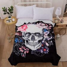 Skull Floral Soft Warm Blanket Micro Plush Fleece Throw Rug Sofa Bedding Hot New