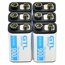 6x Black Durable 9V 900mAh Power Ni-Mh Rechargeable Battery US Fast Shipping CA