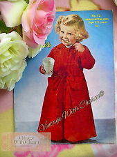 Vintage 50s Knitting Pattern For Childs Housecoat In D/K 2-3 Years. FREE P&P