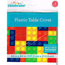 BUILDING BRICKS PLASTIC TABLE COVER ~ Birthday Party Supplies Decorations Cloth