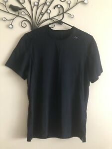 Lululemon Mens Sz S Black  Silky Feel Thinly Striped Tee With Back Pocket As New