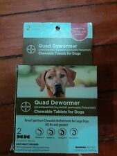 Bayer Quad Dewormer For Large Dogs 45 lbs or more (2 Chewable Tablets)