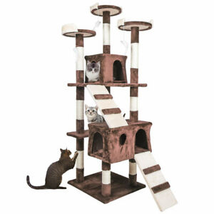 "68"" Cat Tree Condo Furniture Scratch Post Pet Play House Home Gym Tower Brown"