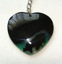 Birthstone Key Ring Keychain Natural Onyx Agate Stone Heart Gemstone H41