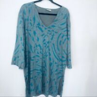 Cantoo Printed Cotton Tunic V-Neck 3/4 Sleeve Split Sides Women's XL Extra Large