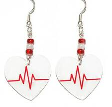 RED & WHITE HEARTBEAT HEART NURSE MEDICAL EKG DANGLE EARRINGS (D033)