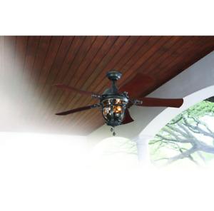 "Damp Outdoor/Indoor 52"" Lantern Ceiling Fan Unique Patio Light Rustic Cool Cabin"