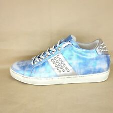 Leather Crown Femmes Low Top Sneaker marble T 41 Bleu Cuir Chaussures NP 339 NEUF
