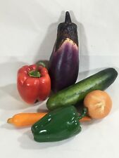 Lot 6 artificial fruit vegetable cucumber onion carrot red green pepper eggplant