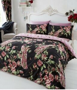 Single black Flower Bloom Peacock Duvet Cover & Pillows Bedding Set BNIP