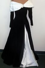 AFTER FIVE NEIMAN MARCUS 80's Off Shoulder Black Velvet White Satin Ball Gown