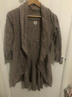 Noa Noa Open Front  Wool Blend Long Cardigan Coat Beige Size M Medium
