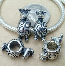 4PC LOT Antique Silver Cute Baby 3D Giraffe European Beads Charms fit Bracelet