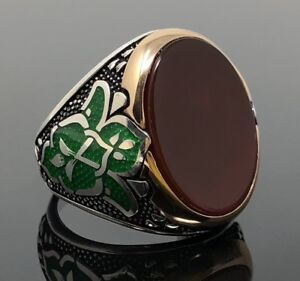 NEW 925K Sterling Silver Agate (Aqeeq) Stone Men's Ring w/ Green Enameled K62F