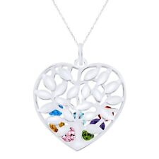 Gemstone Personalize Engrevable Tree Cage Heart Necklace 925 Sterling Silver