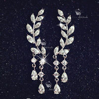 18k white rose gold filled clear crystal leaves dangle ear climbers earrings