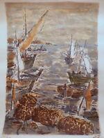 Lithographie française tableau peinture marine bateau mer océan bretagne France