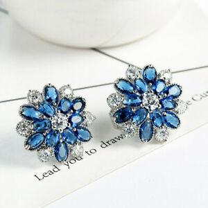 Handmade Jewelry Flower London Blue Topaz Gemstone Silver Clip On Stud Earrings