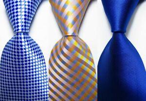 3 pcs New Classic Checks JACQUARD WOVEN 100% Silk Men's Tie Necktie