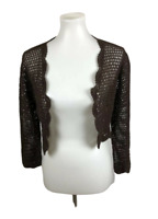 NEW Dressbarn Women's Size 8 M Brown Crochet Open Knit Bolero Cover Up Cropped