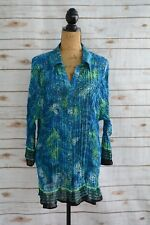 Maggie Barnes - Blue TEAL green SHEER crinkle fabric button front shirt, size 3X