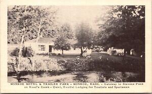 Linen Postcard Monroe Motel & Trailer Park in Monroe, Washington~136505