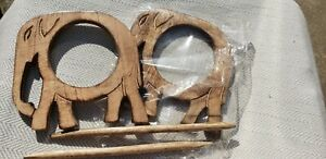 New Wooden Elephant Curtain Holdback Tie Back w/ Stick Home Decor (Set of 2) USA