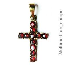333er Gold Kreuz Anhänger mit Granat 8ct gold cross pendant with garnet
