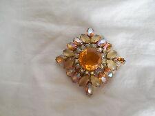 Juliana large amber w/AB rhinestones brooch