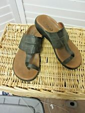 Chaco Womens Toe Ring Sandal Sz 6 gray charcoal Leather Comfort Thong Flip Flop