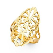 Solid 14k Yellow Gold Fashion Ring Filigree Design Polished Diamond Cut Large