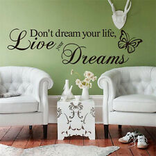 """Don't dream your life"" DIY Stylish Decal Vinyl Home Room Decor Art Wall Sticker"