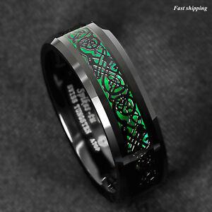 8mm Tungsten Ring Black Celtic Dragon Green Carbon Fiber ATOP Mens Wedding Band